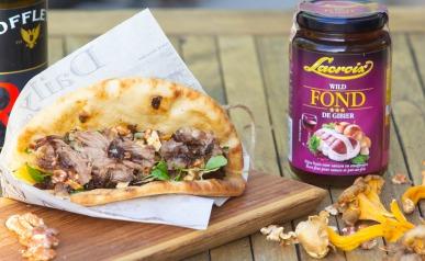 Taco met pulled pork van everzwijn met portosaus