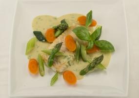 Curry met kabeljauw en groentjes