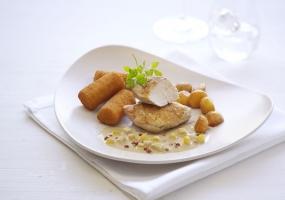 Filet de faisan à la sauce douce au poivre rose - billes de pomme au sirop d'érable