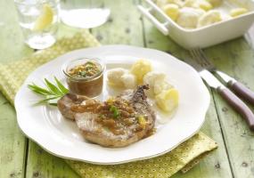 Côtelette de porc sauce Blackwell, purée de chou-fleur