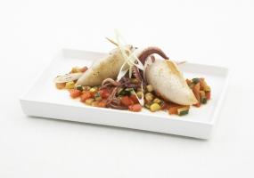 Met risotto gevulde pijlinktvisjes