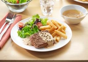 Steak au poivre et cognac