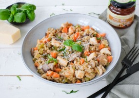 Risotto au poulet et légumes d'hiver