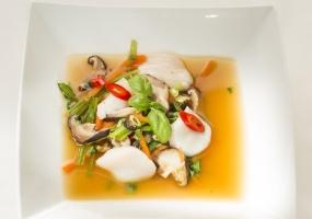 Soepje met coquille en shiitake